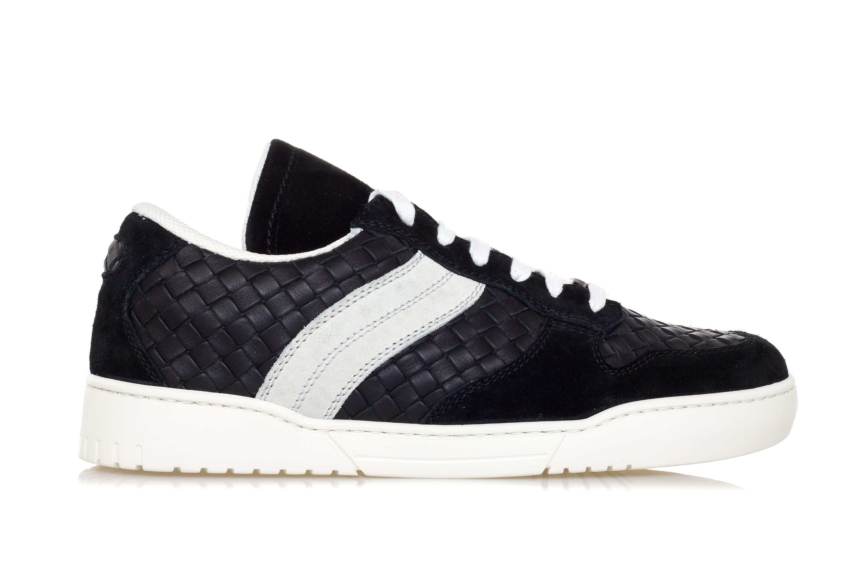 06f5d00aa9 BOTTEGA VENETA Mens Shoes Sneakers HEEZE Black INTRECCIATO Leather ...