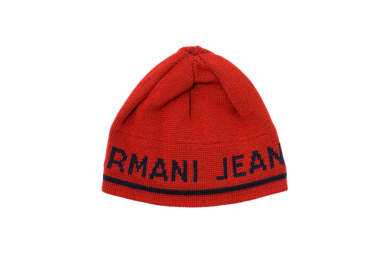 ARMANI JEANS Cappello Cappellino Cuffia Uomo Misto Lana Arancione ... d94abfedc19d
