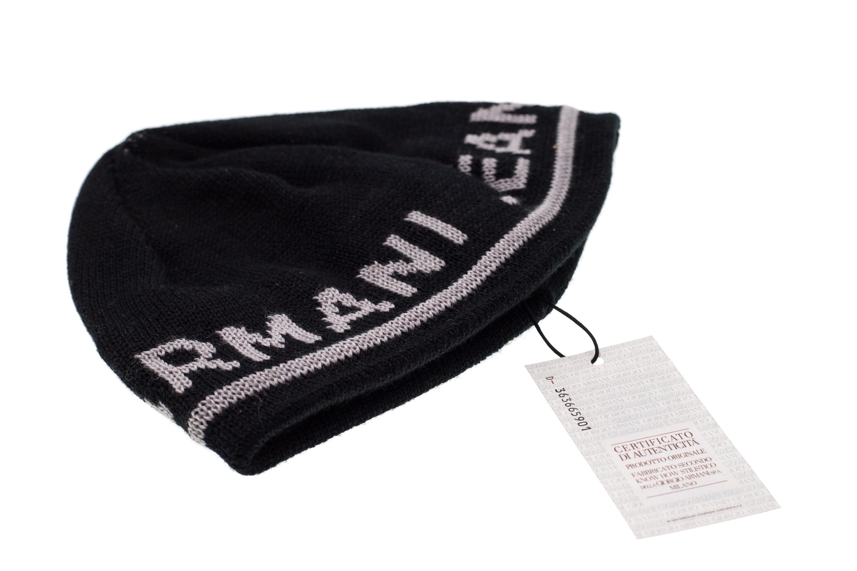 ARMANI JEANS Cappello Cappellino Cuffia Uomo Misto Lana Nero Logo ... c02c444cf120