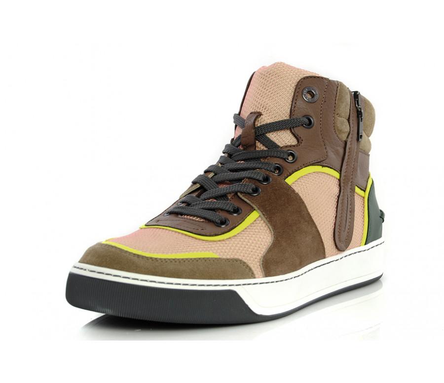 Sneakers in pelle & mesh