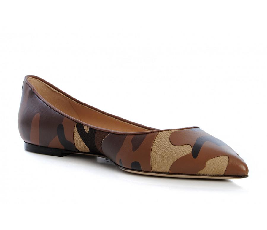 "Ballerina ""rockstud"" in pelle e tela camouflage"