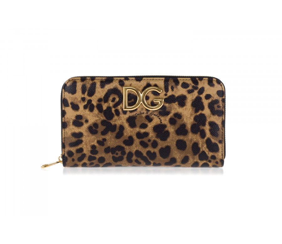 Leather and Leo pattern zip-Around 'Dauphine' wallet
