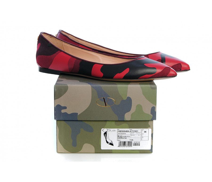 """rockstud"" camouflage leather & canvas ballerina flats"