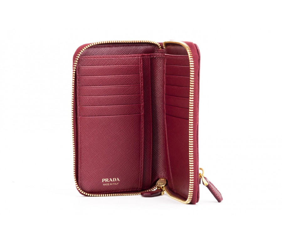 """saffiano"" leather bifold zip wallet"