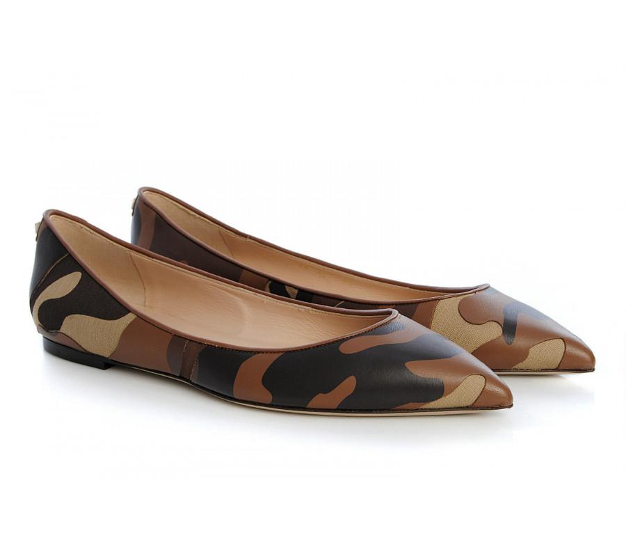 """rockstud"" camouflage leather & canvas ballerina flats"