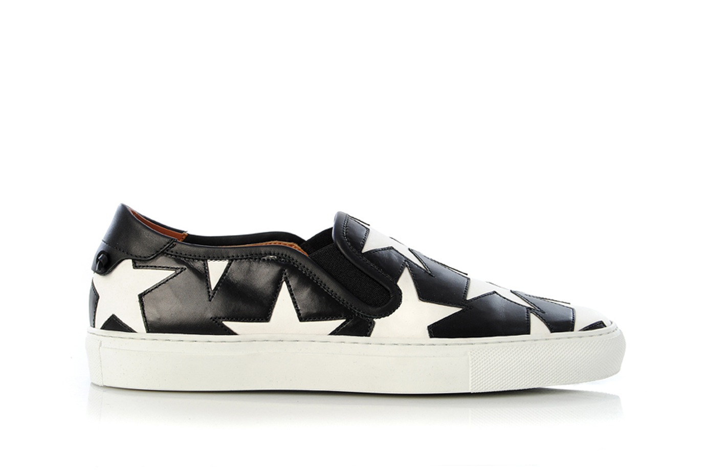 4a48ccfe7ec01 Details about Womens Shoes GIVENCHY Sneaker Skate BE08782101 Slip-On White  Stars Black Leather