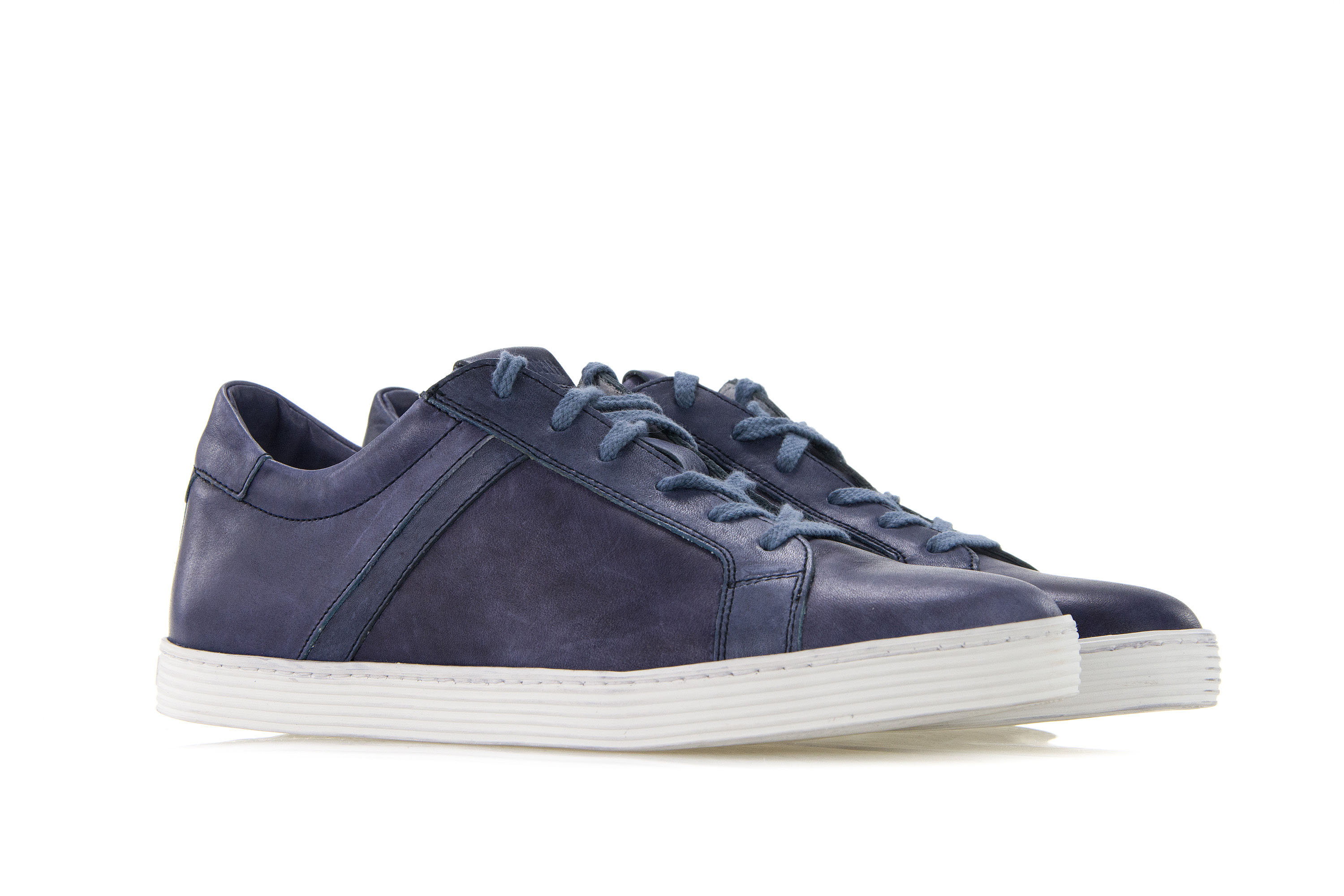 Details about BIKKEMBERGS Mens Sneakers Shoes WORDS 892 LOW SHOE Blue Vintage Leather