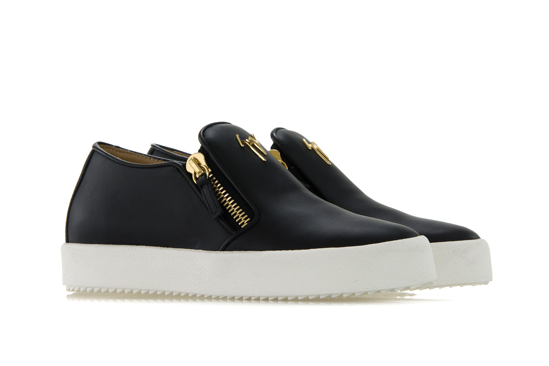 GIUSEPPE ZANOTTI DESIGN Womens Shoes Sneakers EVE Black Slip-On Gold ... 807de369f4