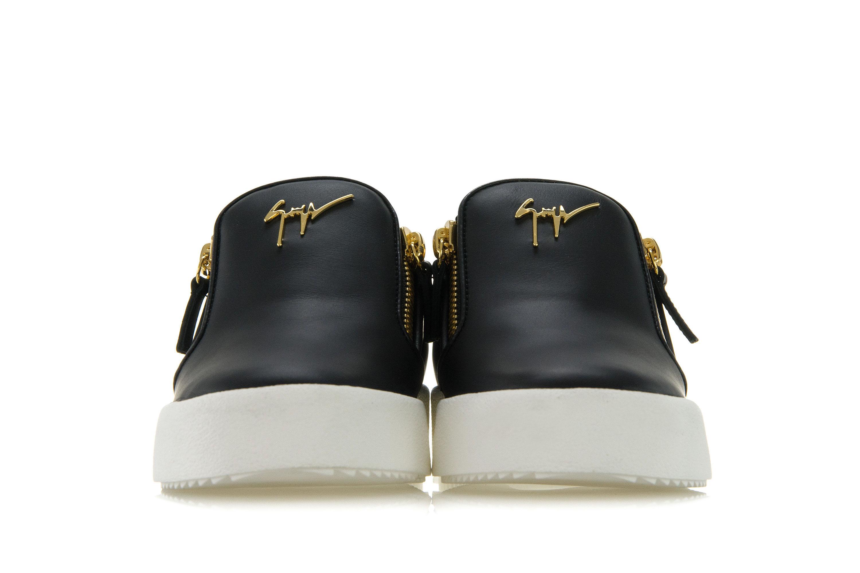 3557ed7eeae17 GIUSEPPE ZANOTTI DESIGN Womens Shoes Sneakers EVE Black Slip-On Gold ...