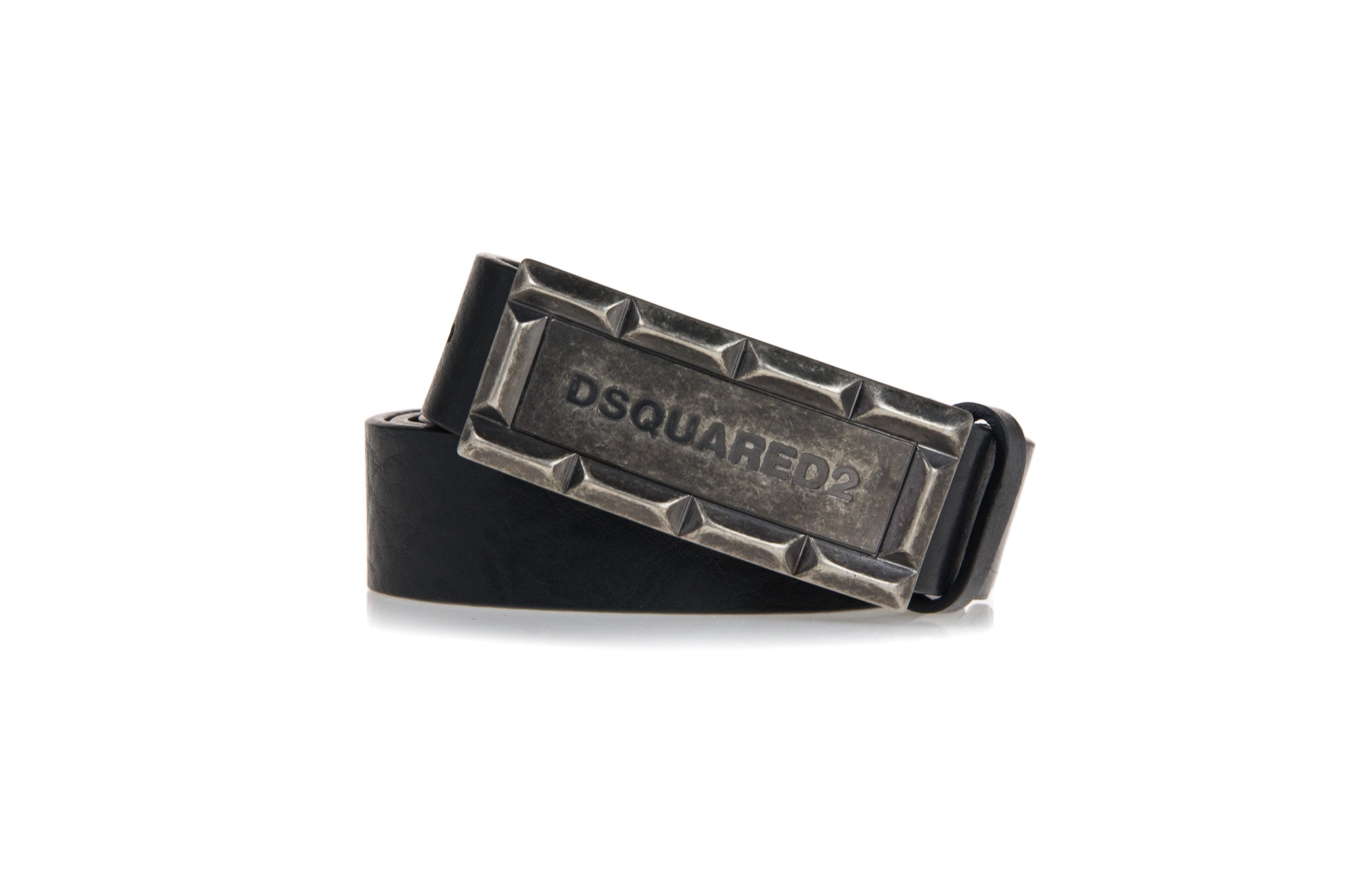 DSQUARED2 Mens Black Leather Thin Belt BE1030 291 M1074 Logo Buckle ... e7f2d959daaa