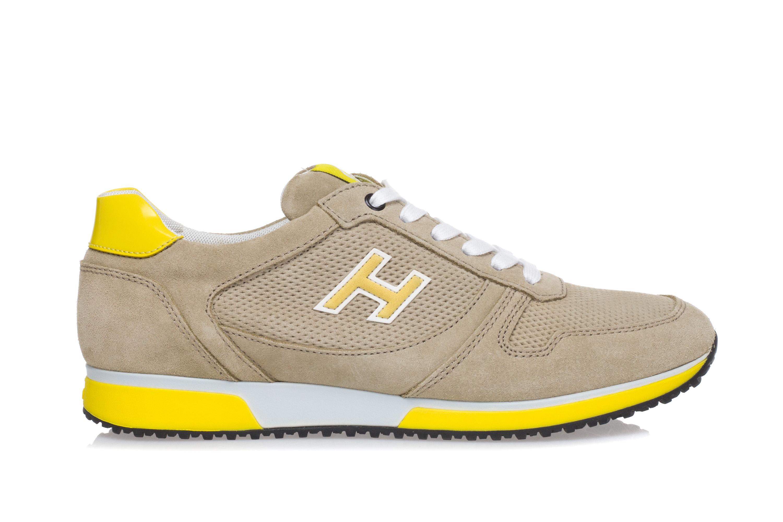 Dettagli su HOGAN Uomo Scarpe Sneakers H198 Pelle Scamosciata Beige Pelle  Vernice Gialla f4e1d0e539b