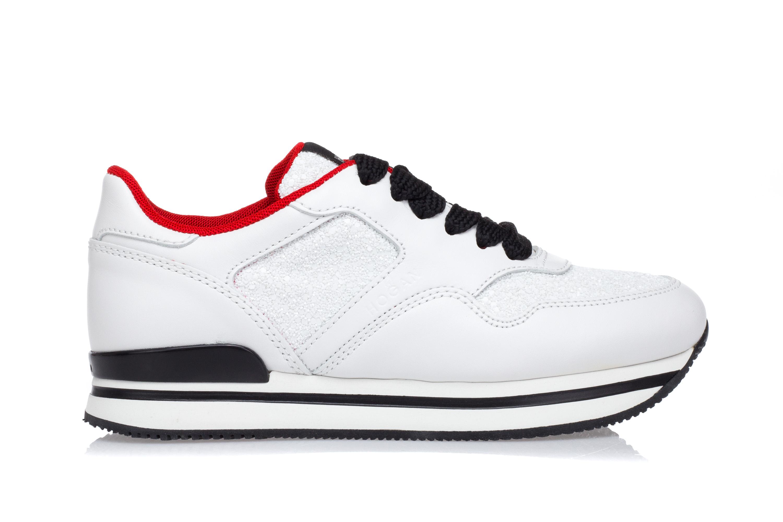 HOGAN Scarpe Sneakers Zeppa Donna H222 Pelle Bianca Inserti Glitter Stringata