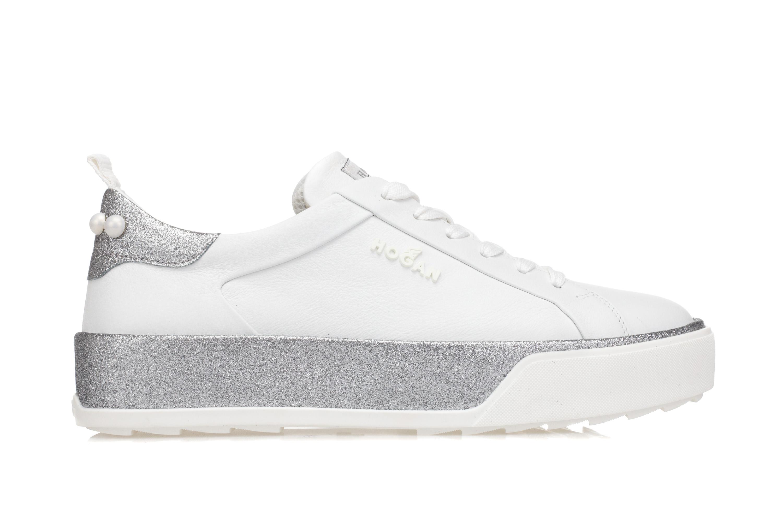 HOGAN Scarpe Sneakers Donna R320 Pelle Bianca Glitter Argento Perle  Applicate 26af6a778f1