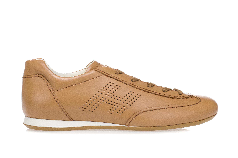8a476d4a7a HOGAN Scarpe Sneakers Donna OLYMPIA Pelle Beige Naturale Sabbia Logo ...