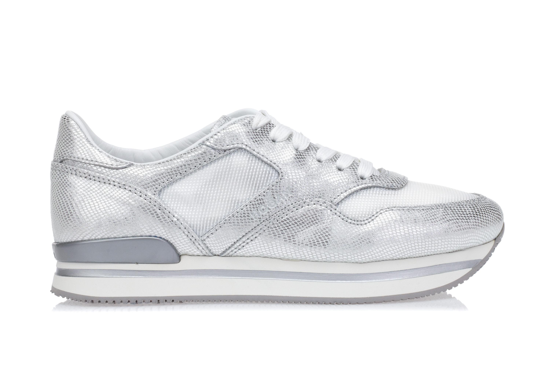 HOGAN Scarpe Sneakers Zeppa Donna H222 Pelle Effetto Rettile Argento Tessuto