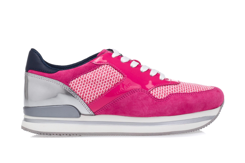 HOGAN Scarpe Sneakers Zeppa Donna H222 Pelle Scamosciata Vernice Fucsia Argento