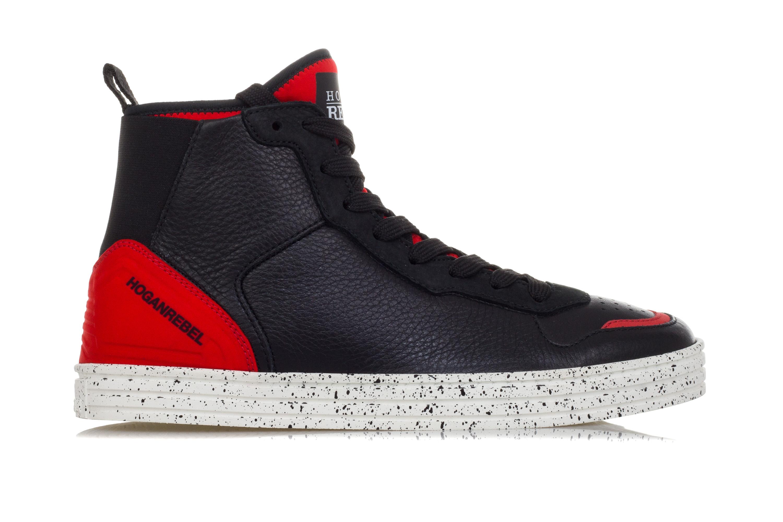 HOGAN REBEL Scarpe Sneakers Alte Uomo R141 Pelle Nera Calzino ... d36c996a266