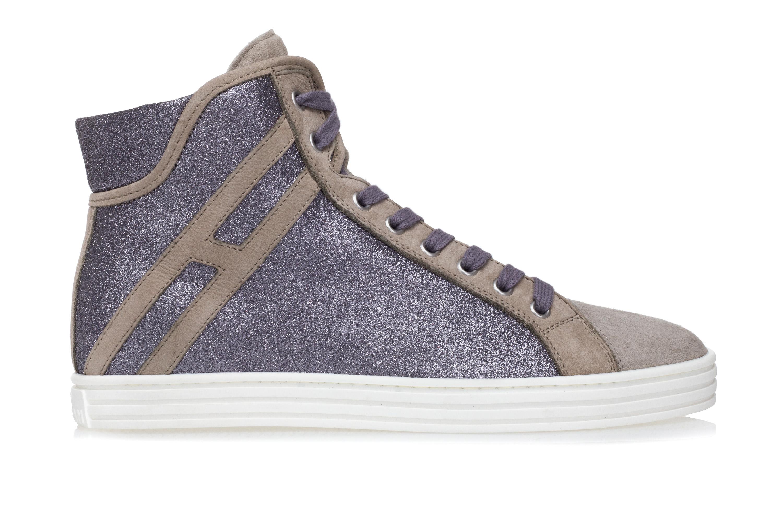 HOGAN REBEL Scarpe Sneakers Alte Donna R182 Glitterate Argento Nabuck Beige