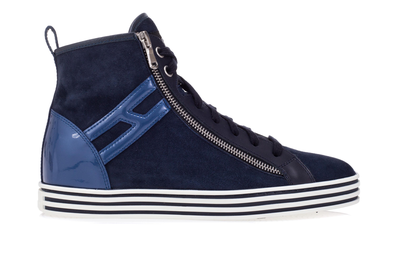 HOGAN REBEL Scarpe Sneakers Alte Donna R182 Camoscio Vernice Blu Zip Laterale