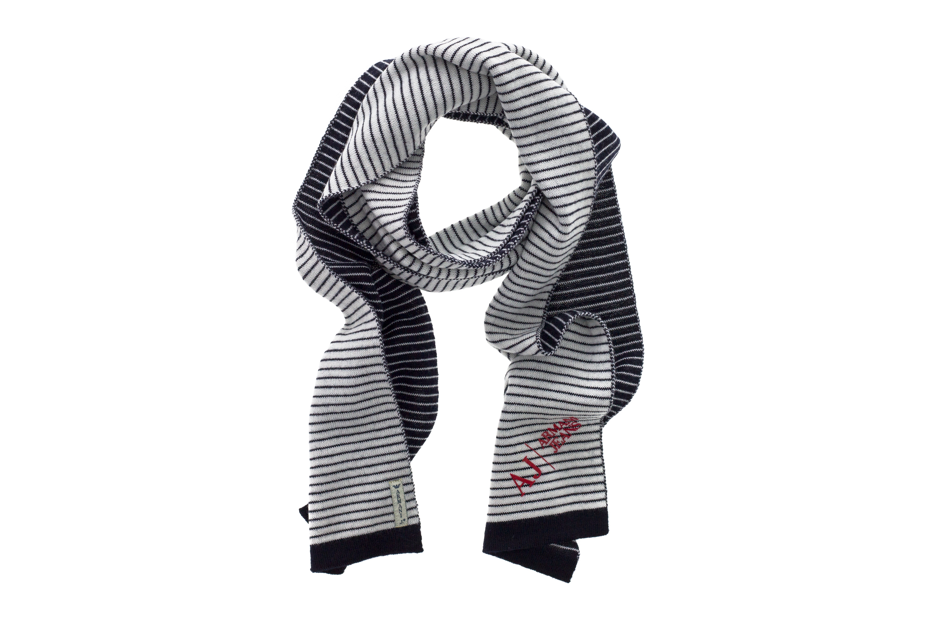 92730b6d5a Details about ARMANI JEANS Men Wool Blend Scarf Black White Stripes Red  Logo MADE IN ITALY