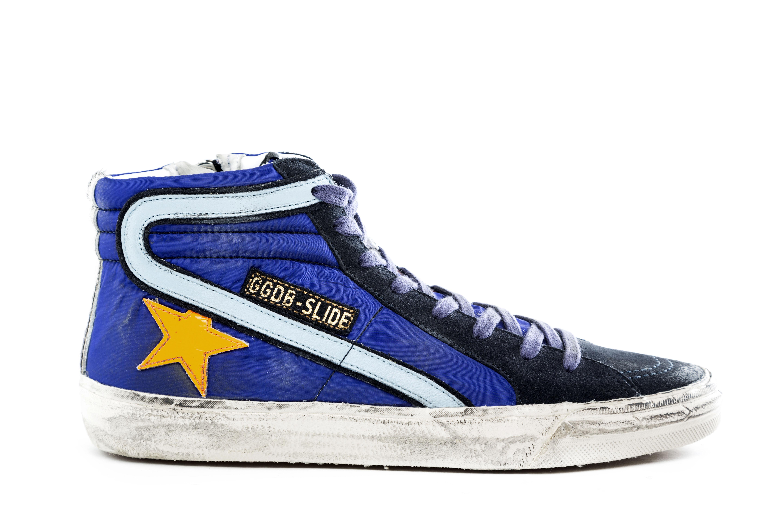 GOLDEN GOOSE Scarpe Sneakers Uomo SLIDE Pelle Tessuto Vintage Blu ... 3d4df118664e