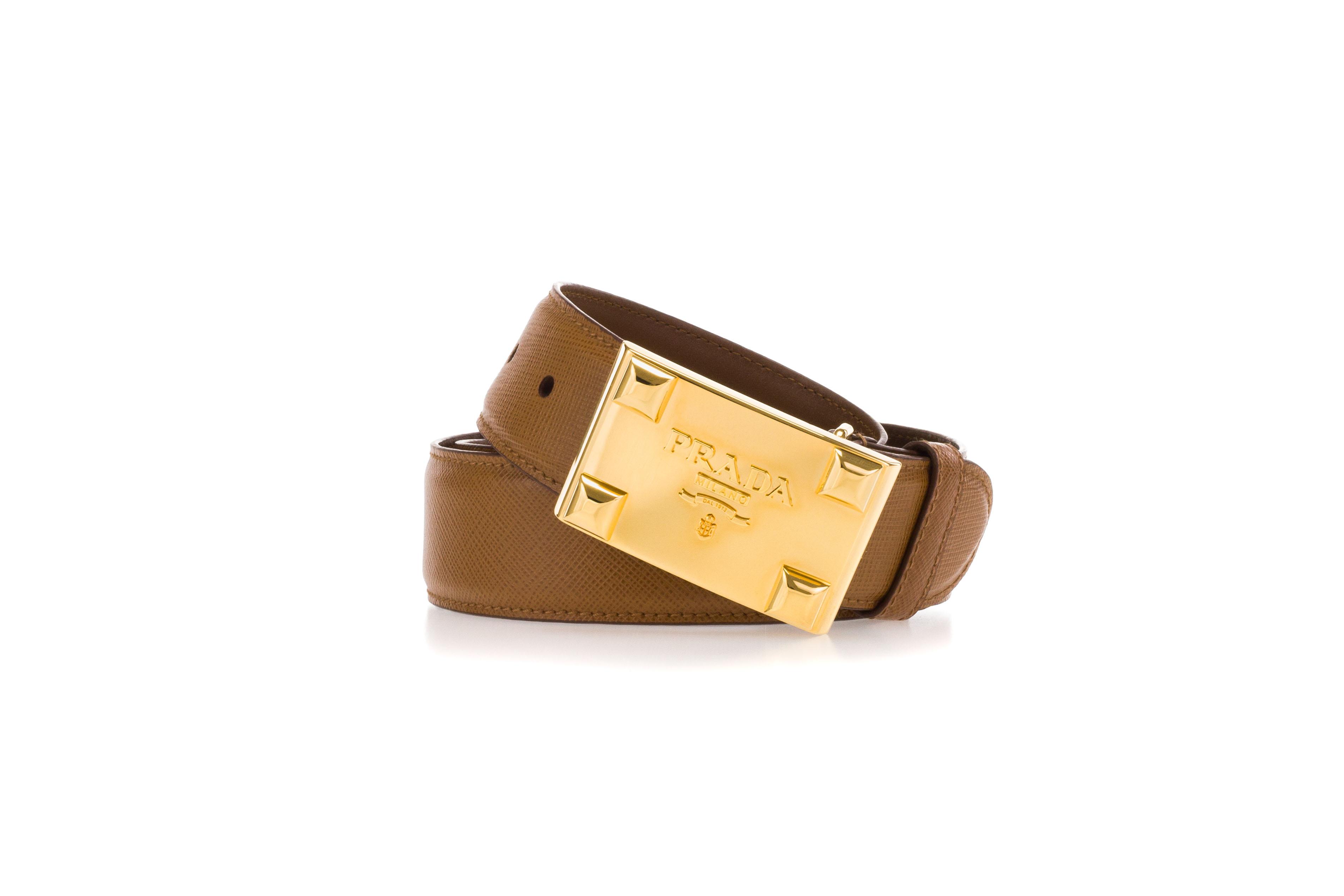 5d180e8a999ab PRADA Damen Gürtel SAFFIANO Caramel Braun Leder Schnalle Aus Metall ...