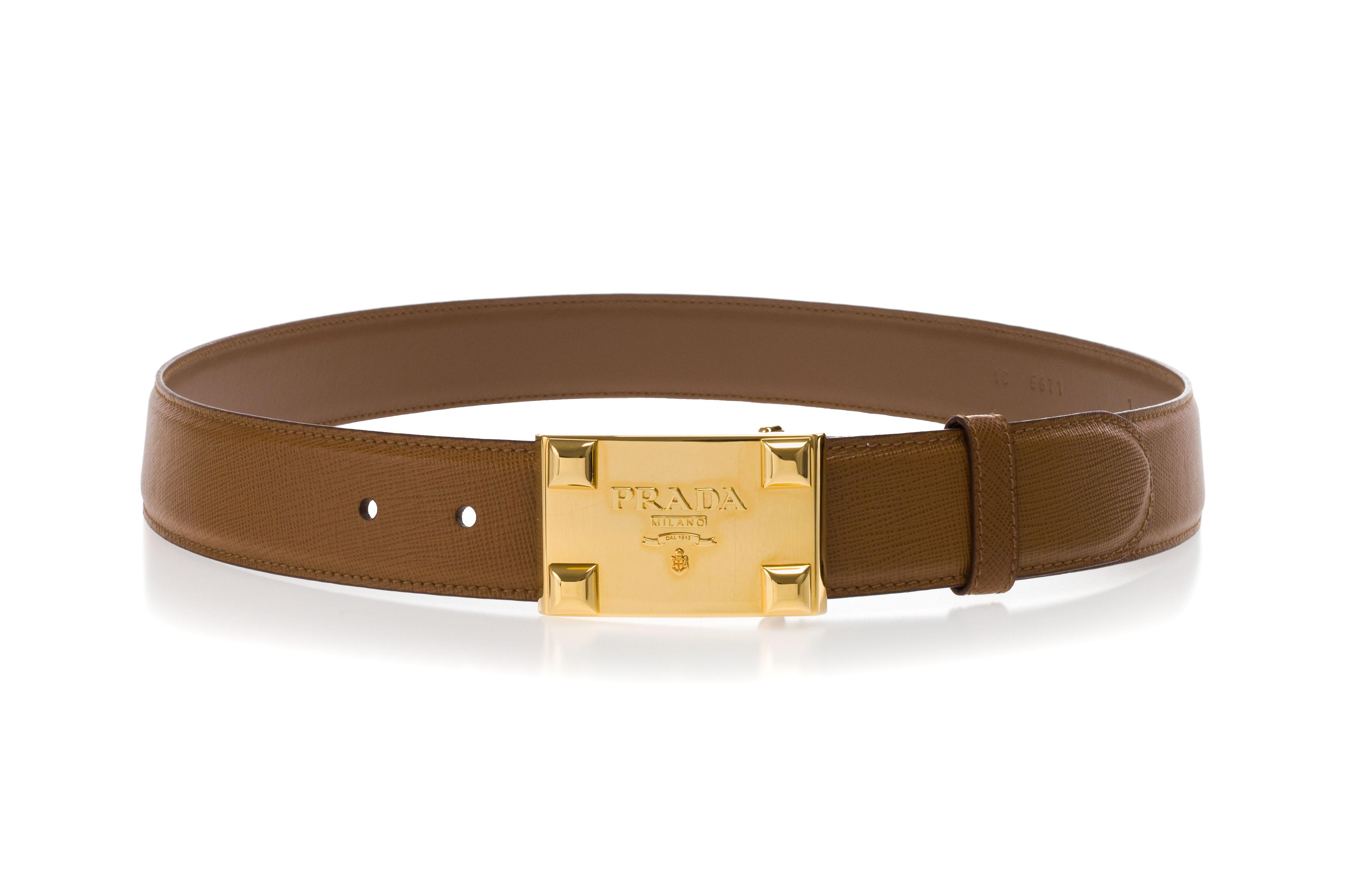 700100547e78 PRADA Women Leather Belt SAFFIANO Caramel Brown Metal Buckle Gold ...